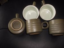 5 X VINTAGE DENBY STONEWARE CHEVRON CUPS GREAT CONDITION OLIVE TONES